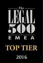 Legal 500 EMEA Top Tier 2016